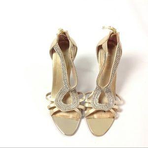 Glint Open Toe Sandal Heel Embellished Size 5.5